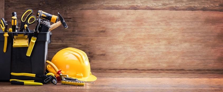 Handyman tools and helmet